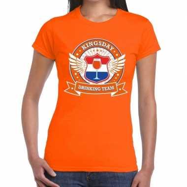 Oranje kingsday drinking team t shirt dames