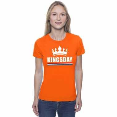 Oranje kingsday een kroon shirt dames