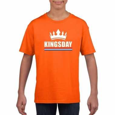 Oranje kingsday een kroon shirt kinderen