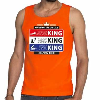 Oranje kingsday to do list tanktop / mouwloos shirt heren