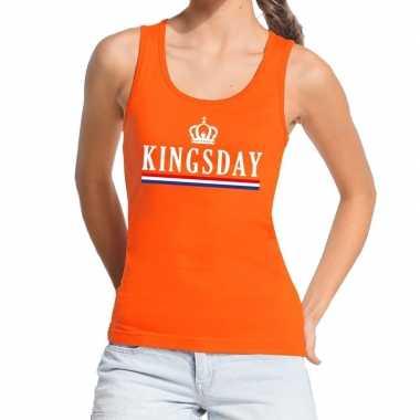 Oranje kingsday vlag tanktop / mouwloos shirt dames