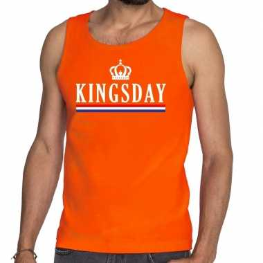 Oranje kingsday vlag tanktop / mouwloos shirt heren
