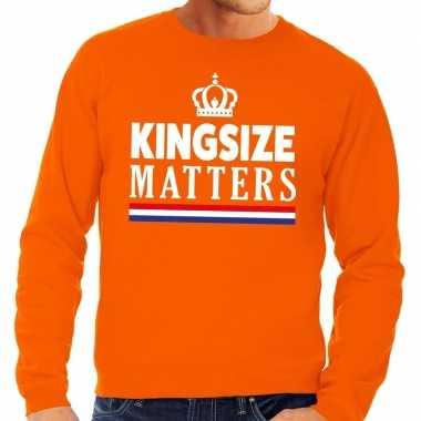 Oranje kingsize matters sweater heren