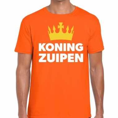 Oranje koning zuipen t shirt heren