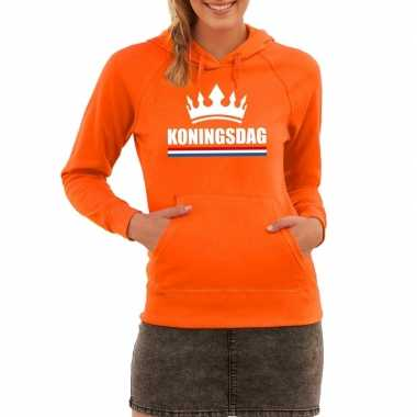 Oranje koningsdag een kroon sweater capuchon dames