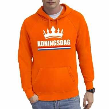 Oranje koningsdag een kroon sweater capuchon heren