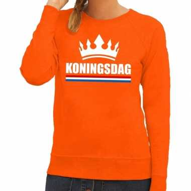 Oranje koningsdag een kroon sweater dames