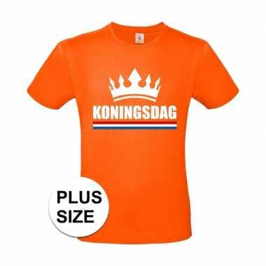 Oranje koningsdag kroon grote maten shirt heren