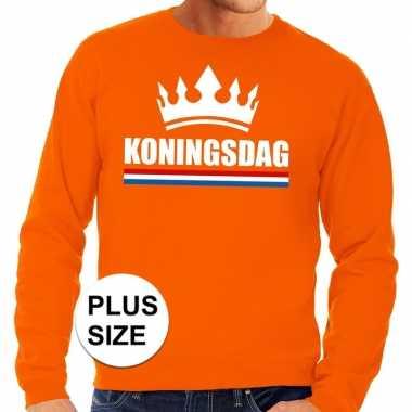 Oranje koningsdag kroon grote maten sweater / trui heren