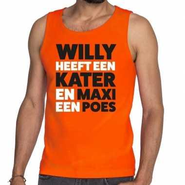 Oranje koningsdag maxi heeft een poes tanktop heren