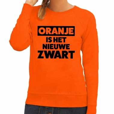 Oranje koningsdag oranje is nieuwe zwart sweater dames