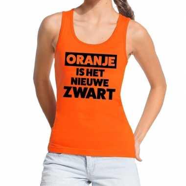 Oranje koningsdag oranje is nieuwe zwart tanktop dames