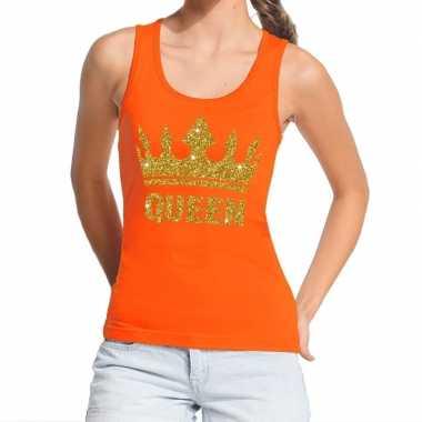 Oranje koningsdag queen tanktop gouden glitters dames