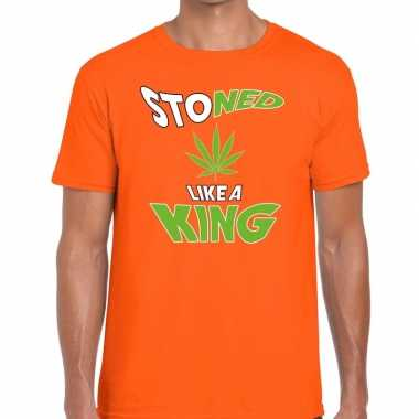 Oranje koningsdag stoned like a king t shirt heren