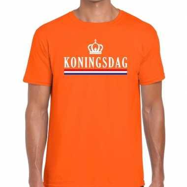 Oranje koningsdag vlag kroontje t shirt heren