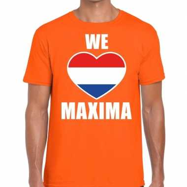 Oranje koningsdag we love maxima t shirt heren