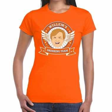 Oranje koningsdag willem drinking team t shirt dames