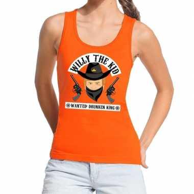 Oranje koningsdag willy the kid tanktop dames