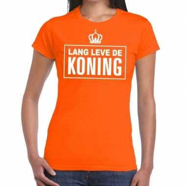 Oranje lang leve koning t shirt dames