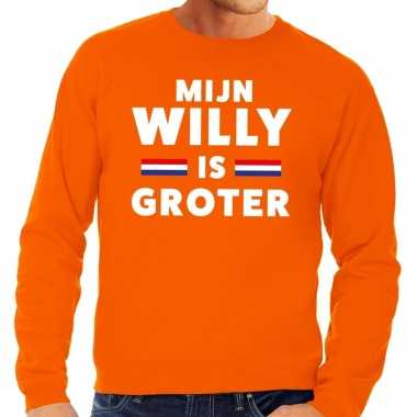 Oranje mijn willy is groter sweater heren