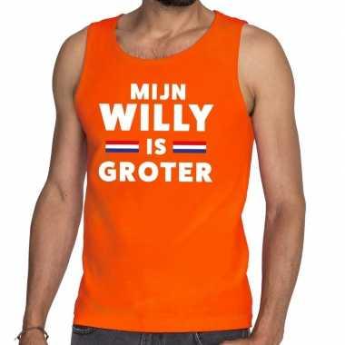 Oranje mijn willy is groter tanktop / mouwloos shirt heren