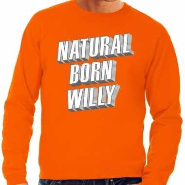 Oranje natural born willy sweater heren