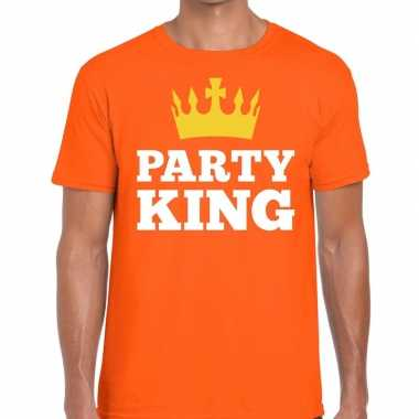 Oranje party king t shirt heren