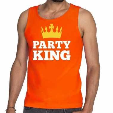 Oranje party king tanktop / mouwloos shirt he