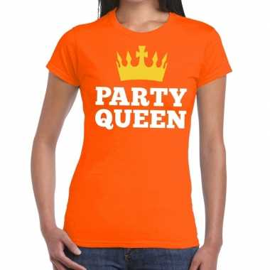 Oranje party queen t shirt dames