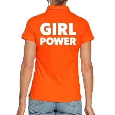 Oranje poloshirt girl power dames