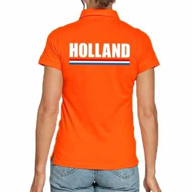 Oranje poloshirt holland dames
