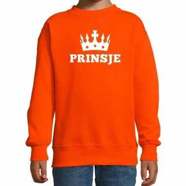 Oranje prinsje kroon sweater jongens