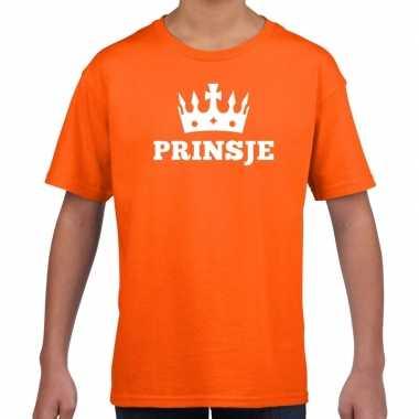 Oranje prinsje kroon t shirt jongens