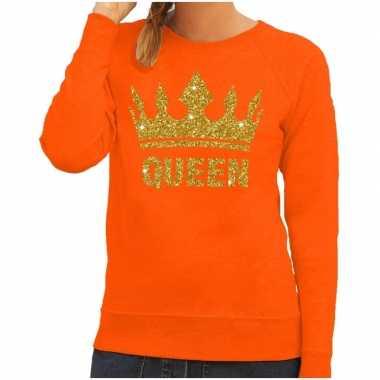 Oranje queen gouden glitter kroon sweater dames