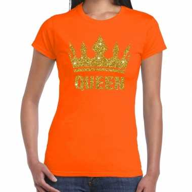 Oranje queen gouden kroon t shirt dames