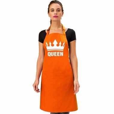 Oranje queen keukenschort bbq schort kroon heren