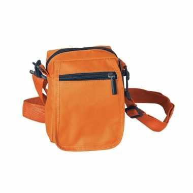 Oranje schoudertasje polyester 15