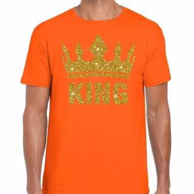 Oranje shirt heren gouden glitter king