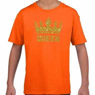 Oranje shirt kinderen glitter gouden queen