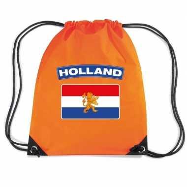Oranje sporttas rijgkoord holland vlag