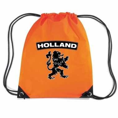 Oranje sporttas rijgkoord holland zwarte leeuw