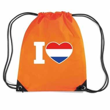 Oranje sporttas rijgkoord i love holland