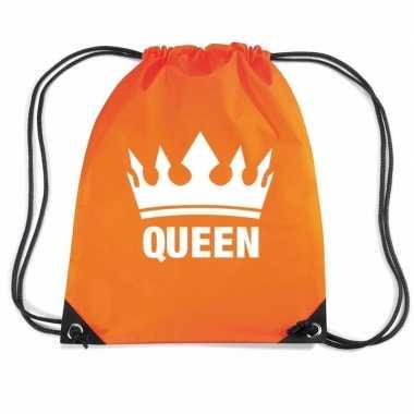 Oranje sporttas rijgkoord queen