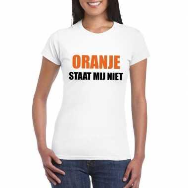 Oranje staat mij niet t shirt wit dames