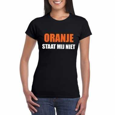 Oranje staat mij niet t shirt zwart dames