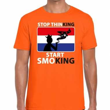 Oranje stop thinking start smoking t shirt heren