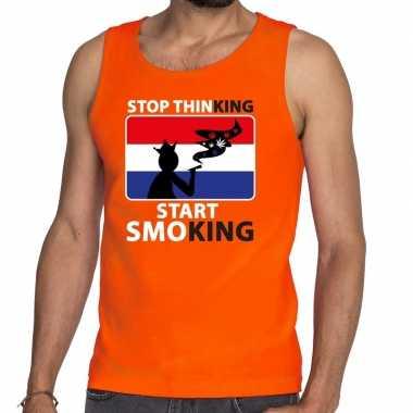 Oranje stop thinking start smoking tanktop / mouwloos shirt here