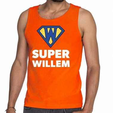 Oranje super willem tanktop / mouwloos shirt heren
