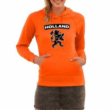 Oranje sweater capuchon holland leeuw dames