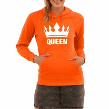 Oranje sweater queen capuchon dames